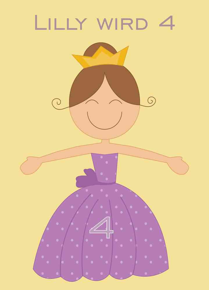 Geburtstags Einladungskarte Prinzessin Lila