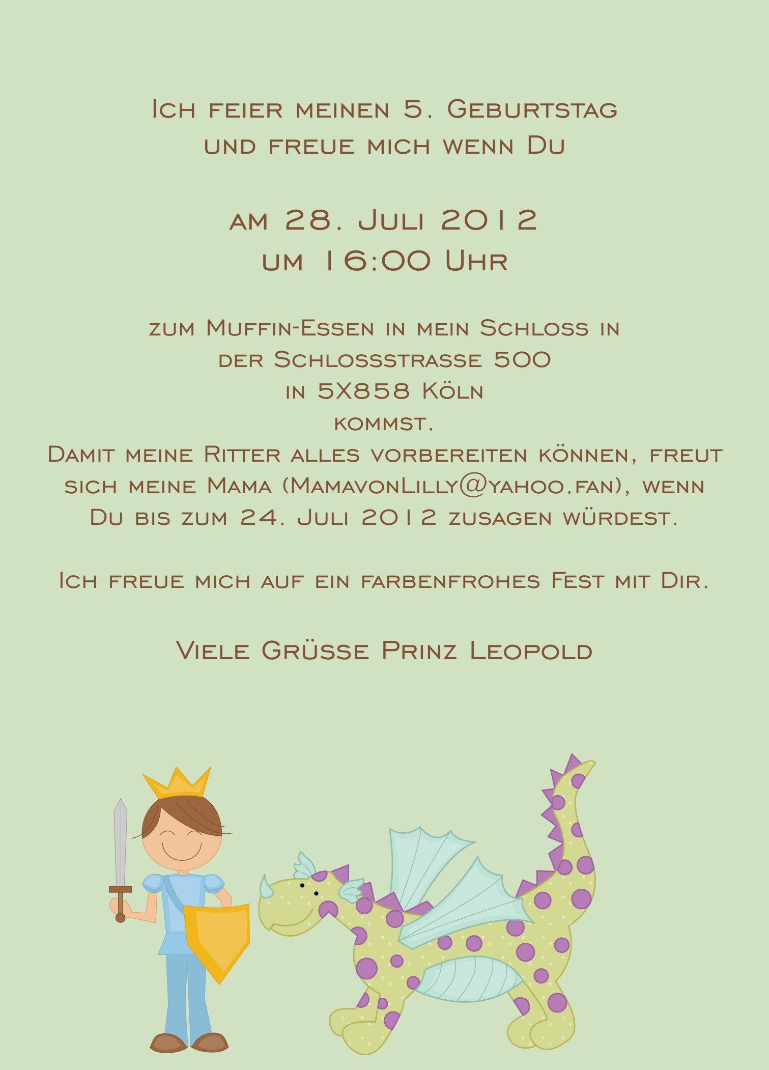 Geburtstags-Einladungskarte Prinz Blau - www.Cartissimi.com