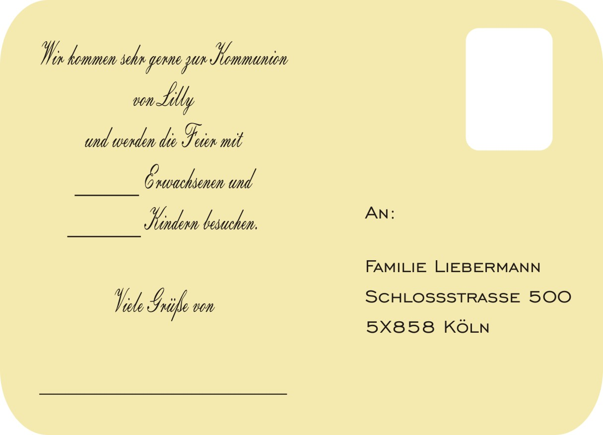 gelbe Antwort-Karten zur Kommunion, Firmung oder ...