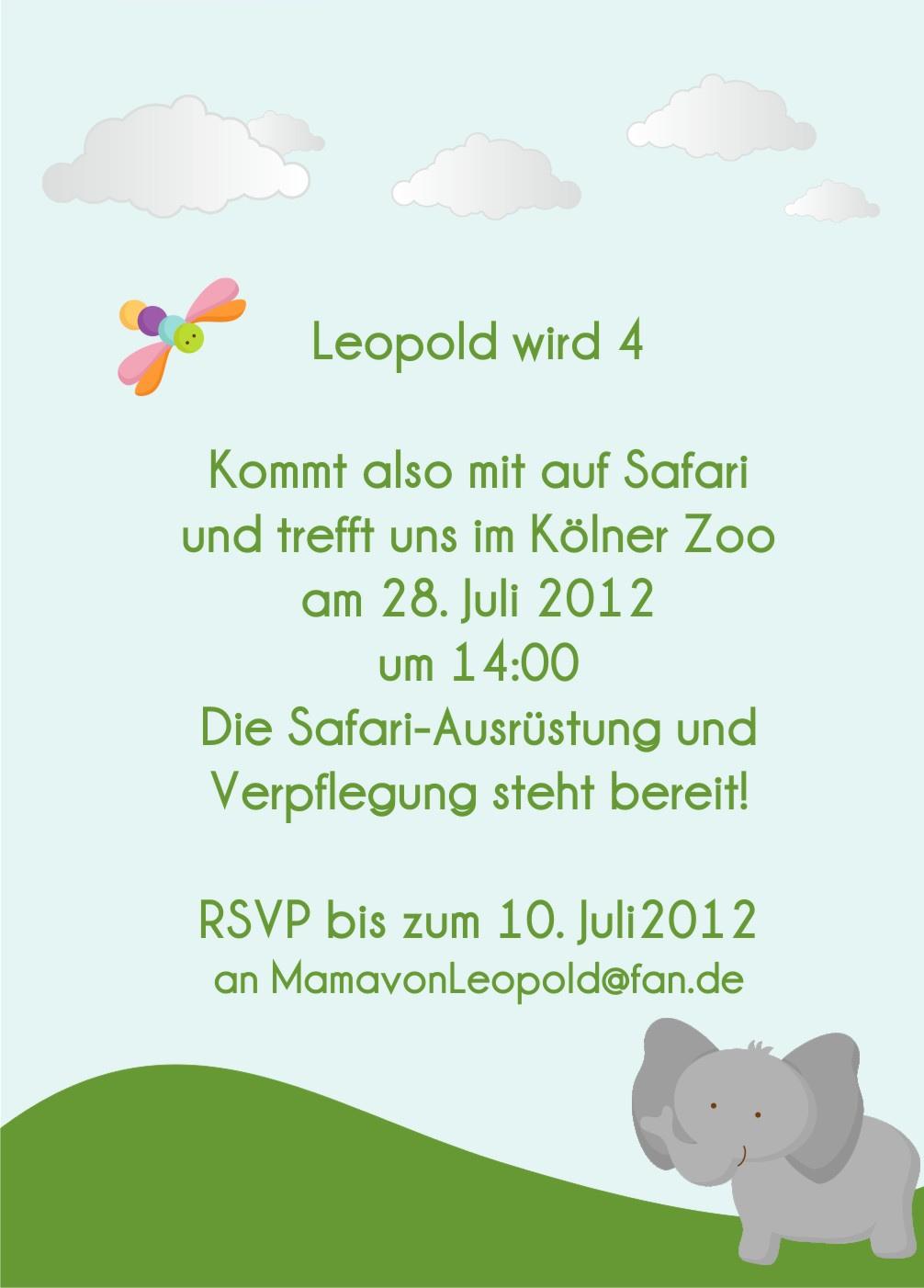 Bunte Safari Geburtstags-Einladungskarten - www.Cartissimi.com