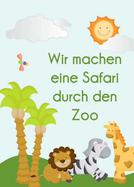 Bunte Safari Geburtstags Einladungskarten