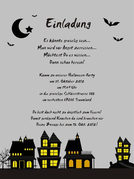 """5 einladungskarten aus der serie """"spooky homes"""" - www.cartissimi, Einladung"""