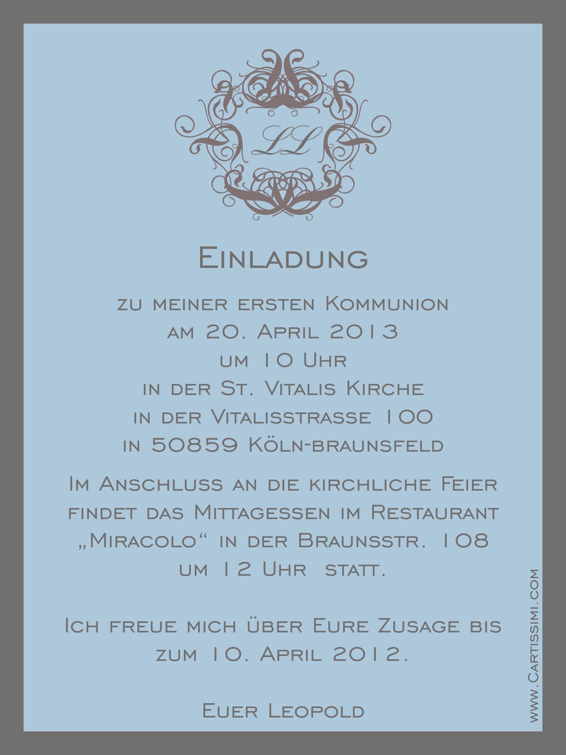 """5 einladungskarten aus der serie """"curly grau"""" - www.cartissimi, Einladung"""