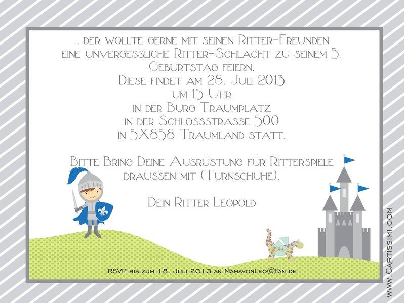 """5 Einladungskarten aus der Serie """"Ritter Rudi"""" - www.Cartissimi.com"""