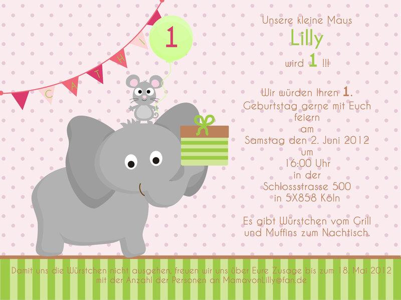"""5 Einladungskarten aus der Serie """"Maus & Elefant"""" - www.Cartissimi.com"""