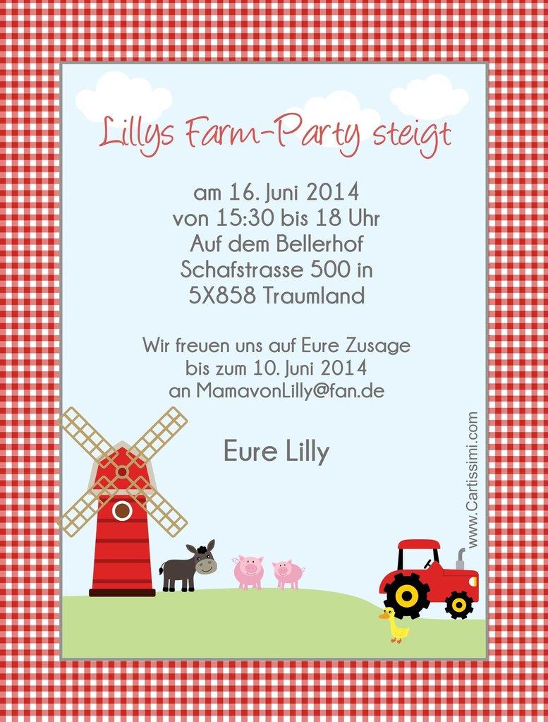 """Einladungskarten """"Finnys Farm"""" - www.Cartissimi.com"""