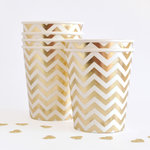 10 Party-Becher mit Gold Weißem Chevron-Muster