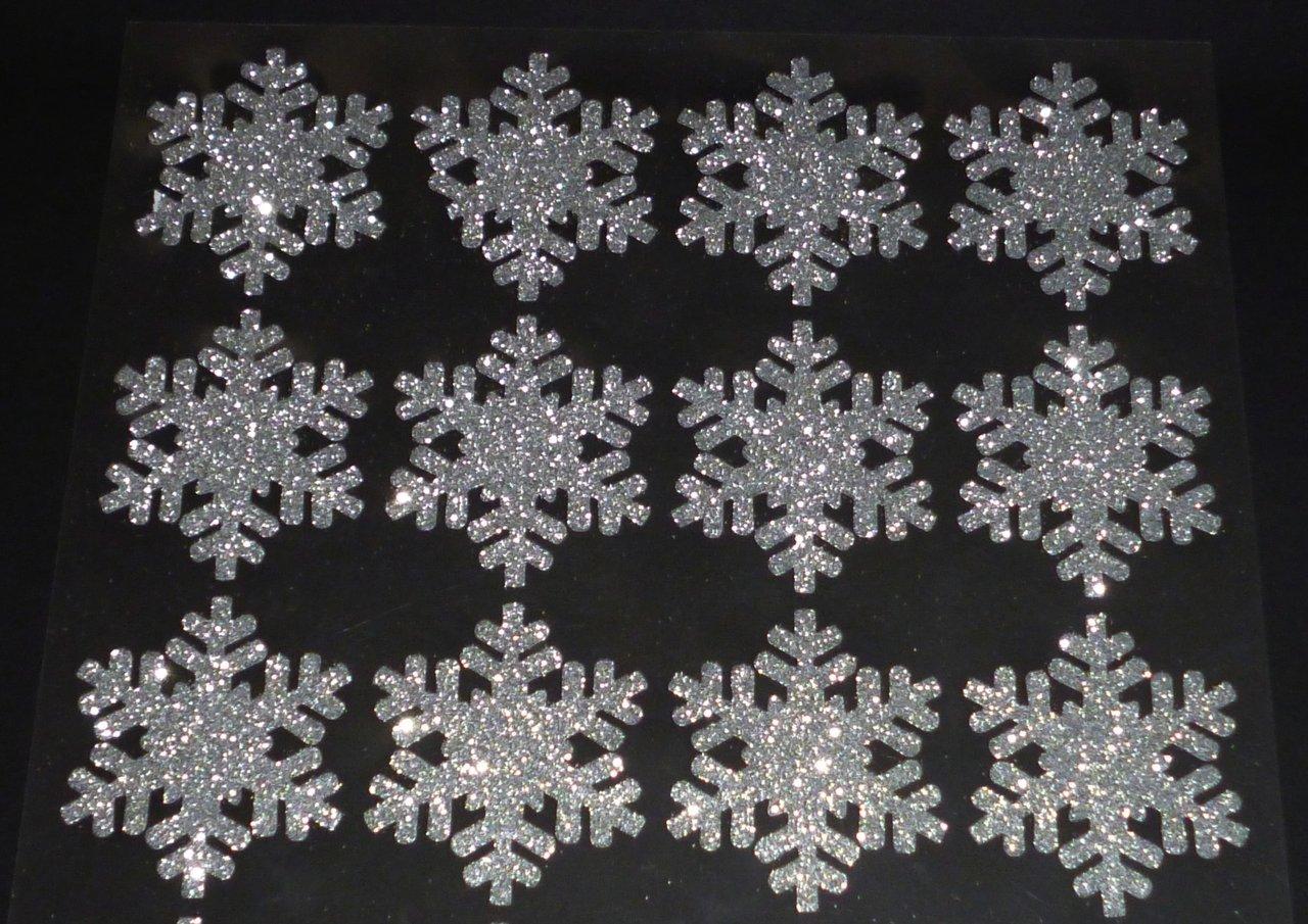 24 Silberne Glitzer Schneeflocken Zum Dekorieren Und Basteln
