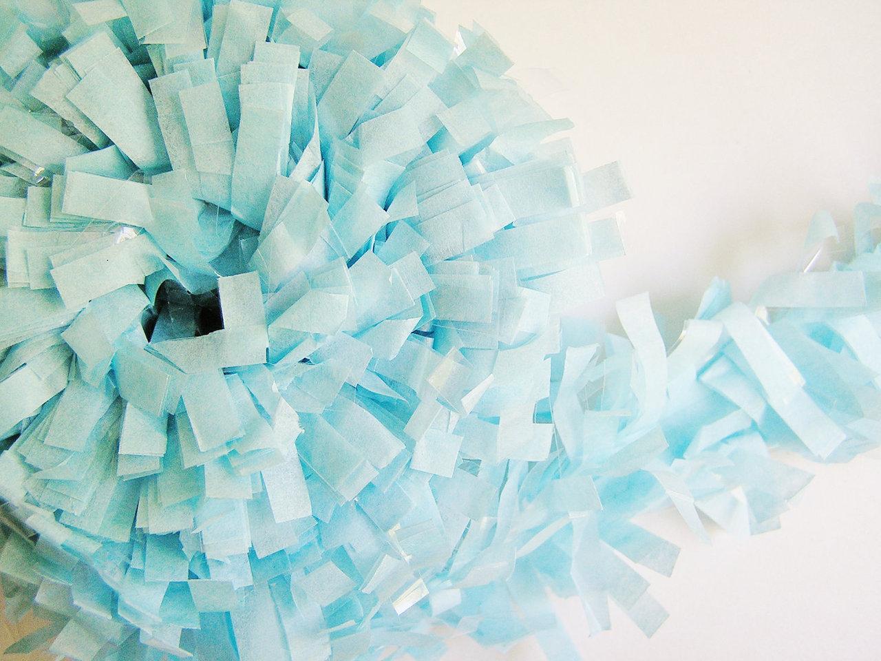 Originelle 7,5 m lange pastell blaue fransen girlande zum ...