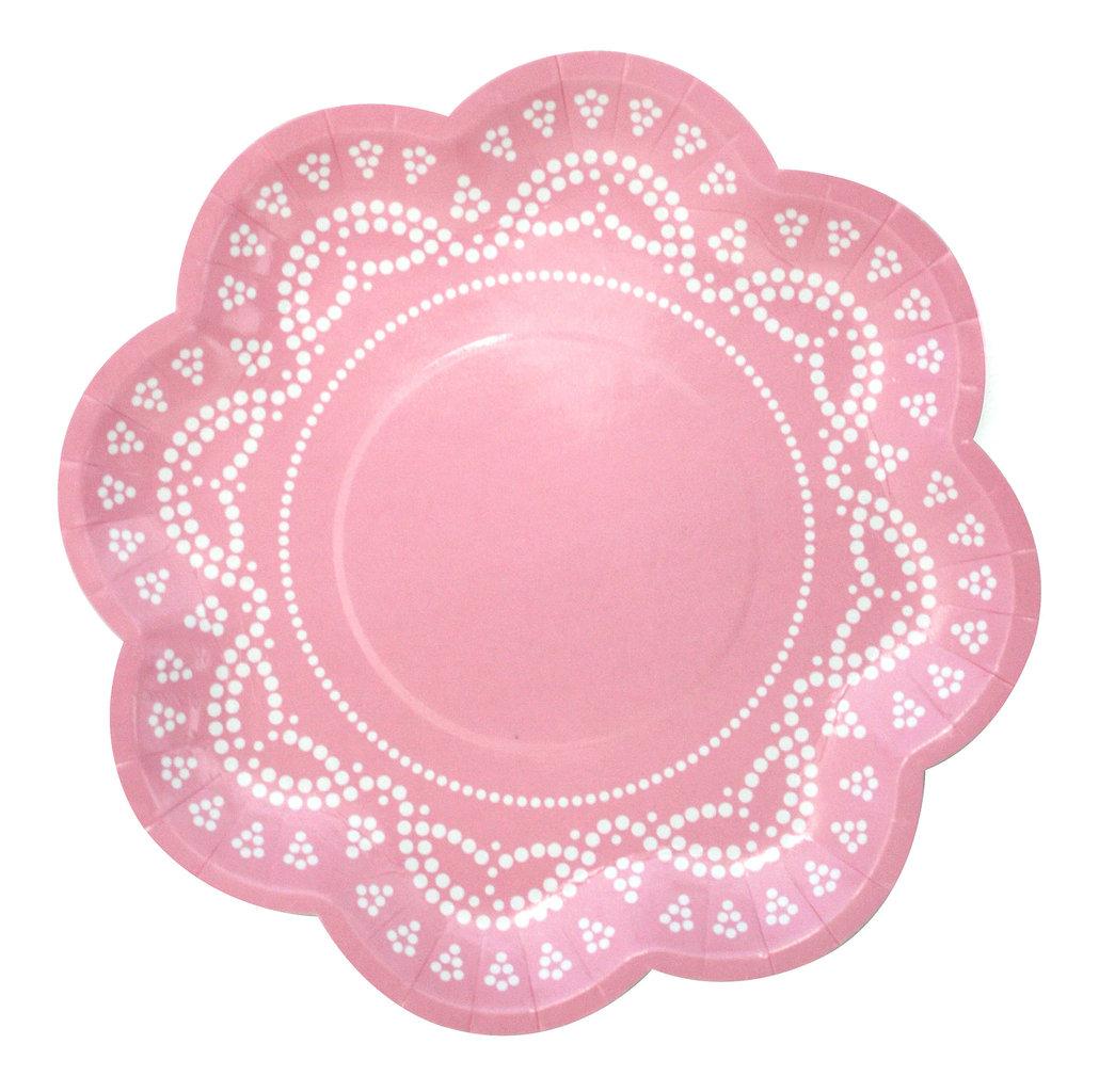 10 Blumen-Förmige Papp-Teller mit Weißem Spitzen-Perlen-Muster in ...