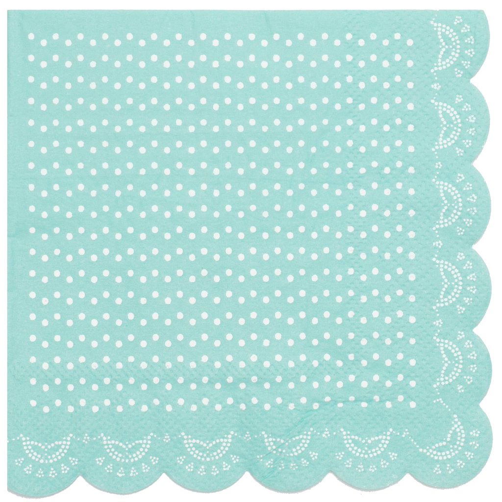 20 Papier-Servietten mit Weißem Spitzen-Muster und Wellenrand in ...