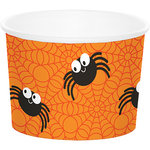 6 Snack Becher in Orange mit lustiger Spinne