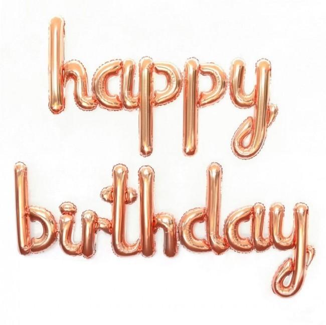 1 Rose Goldener Happy Birthday Text Folien Ballon