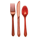 24-teiliges Rot Glitzerndes Plastik-Besteck Sparkle and Shine