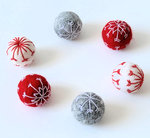 6 Snowflakes Felt Balls in Red Grey and White