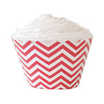 12 Cupcake-Wrapper in Rot Weißem Chevron-Muster