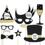 Silvester-Foto-Dekorations Bastel-Set – Neujahrs-Photo Booth Props