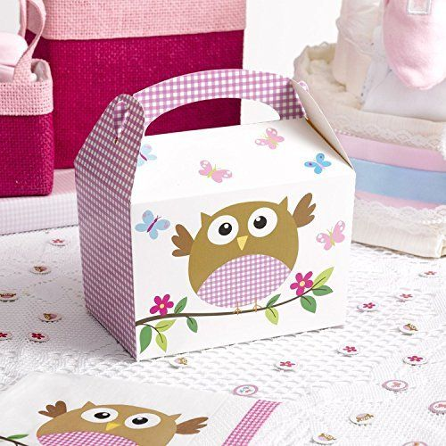 8 Little Owls Party Lunch-Boxen in Pink